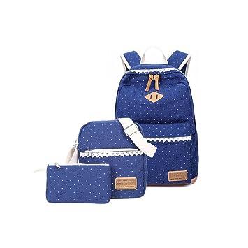 Set de mochilas de tela para el colegio de Humefor, mochila casual + bolso bandolera + estuche, juego de 3 bolsas para niñas y adolescentes