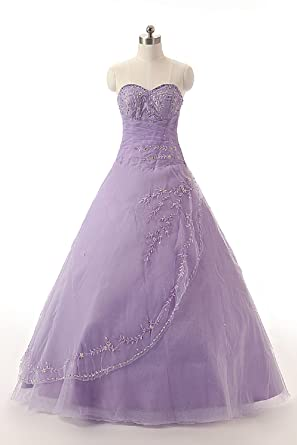 Sarahbridal Women Strapless Cheap Wedding Dresses A Line Show Party Prom Dress for Bride STJ008 Lilac