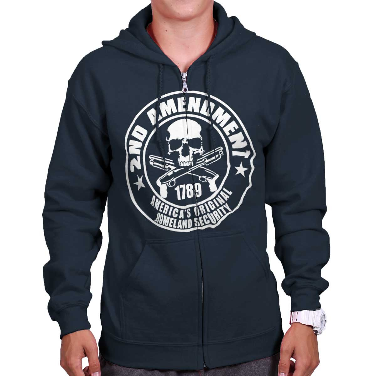 Amazon.com  Brisco Brands 2nd Amendment Americas Homeland Security Zip  Hoodie  Clothing 97d7f5159