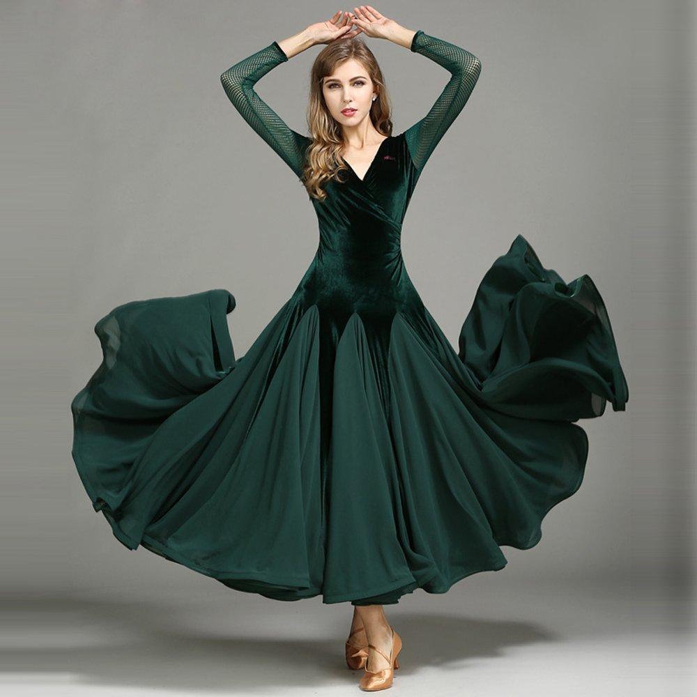 モダンな女性ベルベットモダンダンスドレスビッグ振り子タンゴとワルツダンスドレスダンスコンペティションスカート長袖細い糸ダンスコスチューム B07HHWTBWR Medium|Green Green Medium