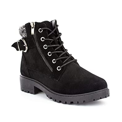6f23fe40f1 Lilley Womens Black Lace Up Boot with Knitted Trim - Size 3 UK - Black