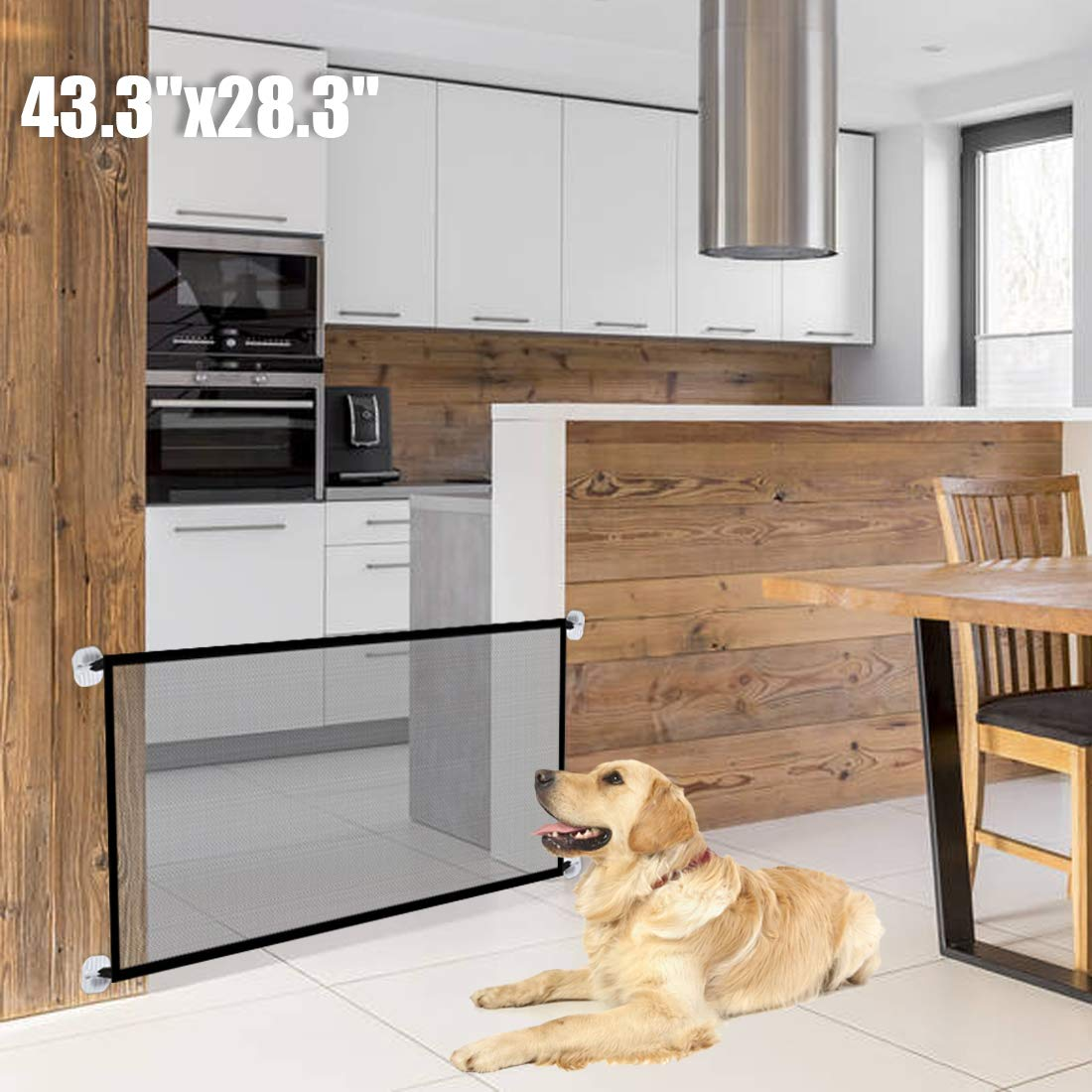 43.3''x28.3''Magic Dog Gate,Portable Folding Pet Safety Gate,Baby Safety Fence for House Indoor Stair/Doorway Use by Bedtime Originals (Image #1)