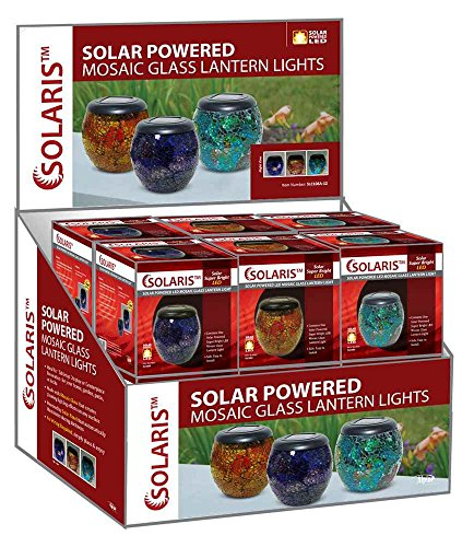 Solaris - Solar Powered LED Mosaic Glass Lantern Light (Assorted Colors)