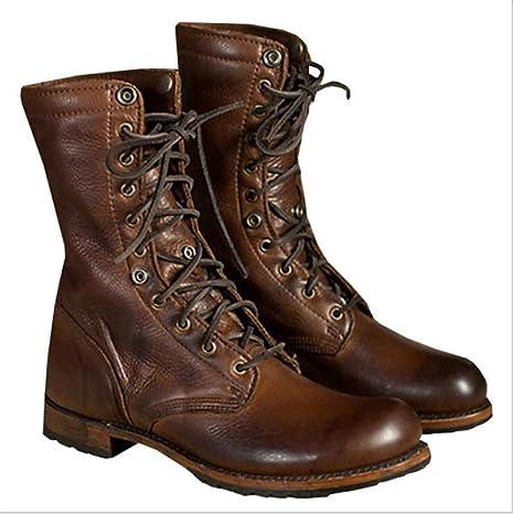 YLJHY Zapatos de Moda de otoño e Invierno Botas de Motos Botines,marrón,5XL
