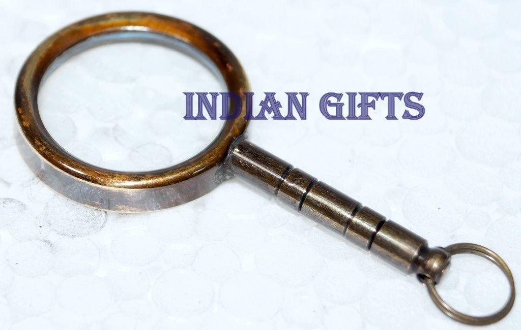 Brass Nautical Car Home Key Ring Brass Magnifying Glass Lens Gift Decor Nice Gift