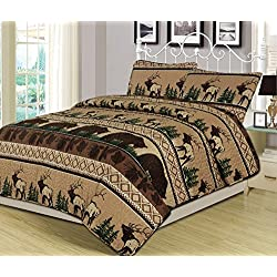 King Quilt Set 3 Piece Comforter Bear Elk Log Cabin Lodge Rustic