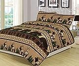 King Quilt Set 3 Piece Comforter Bear Elk Log Cabin Lodge Rustic