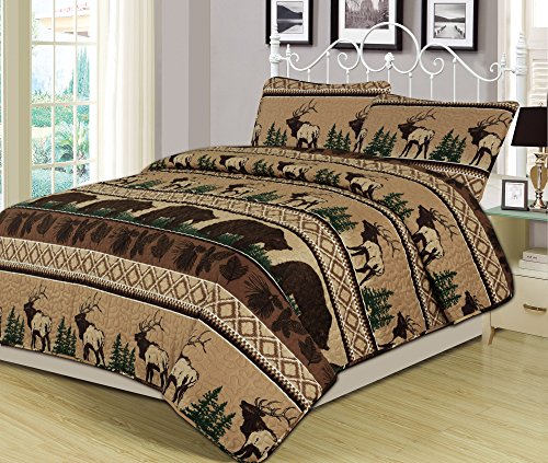 Queen Quilt Set 3 Piece Comforter Bear Elk Log Cabin Lodge Rustic (Log Cabin Throw Quilt)
