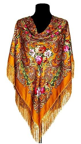 CHALES Y BUFANDAS RUSAS 110x110+cepillos 12 cm, mujer,80%lana20%viscosa,(Oro)