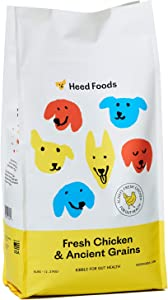 Heed Foods - Dried Dog Food | Fresh Chicken and Ancient Grains Kibble | All Natural, High Protein, Sensitive Stomach Prebiotics | Made in The USA | All Breeds & Life Stages | 5lb Bag