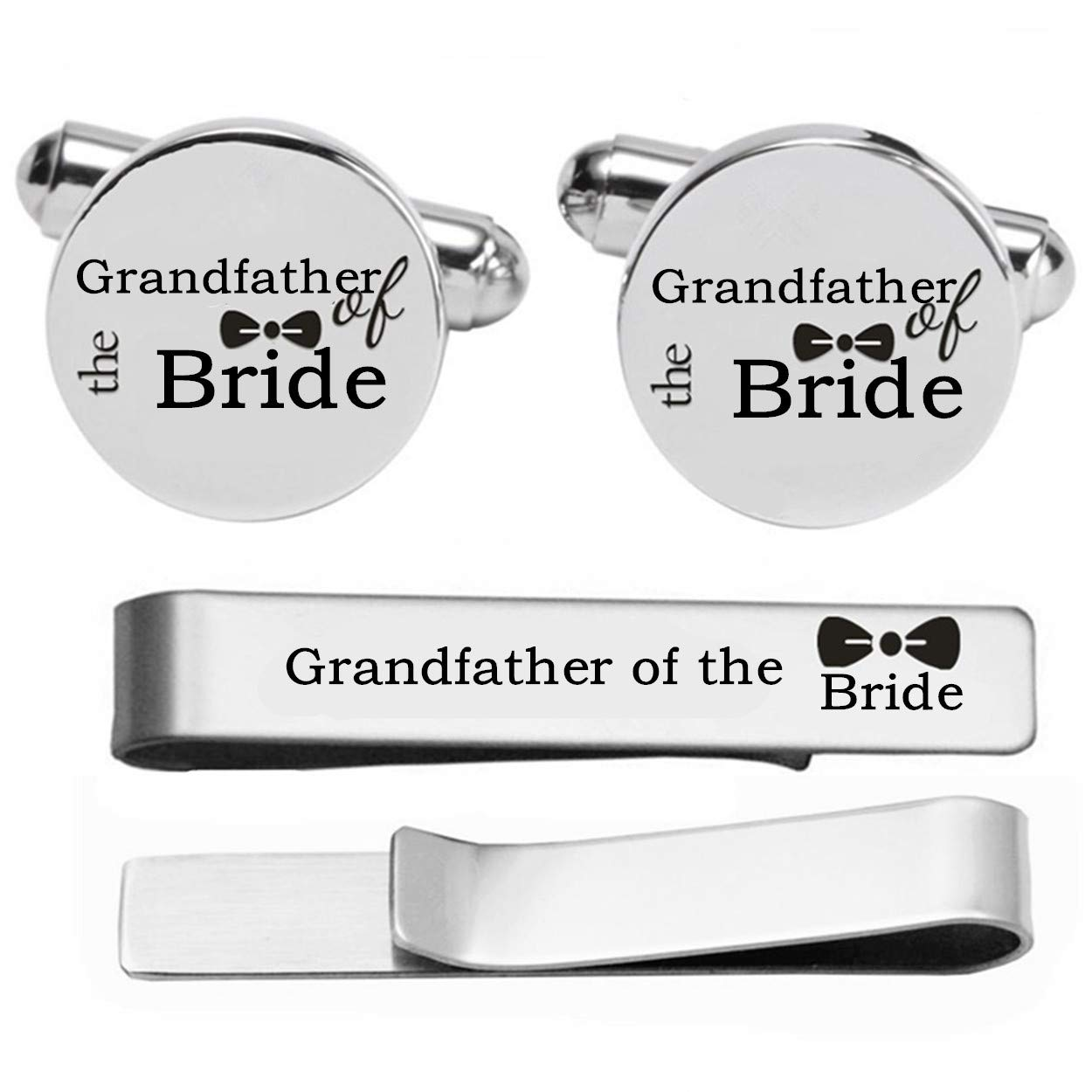 Kooer Custom Personalized Wedding Engraved Cuff Links Tie Clip Set Engrave Wedding Cufflinks Jewelry Gift (Grandfather of The Bride Set) by Kooer