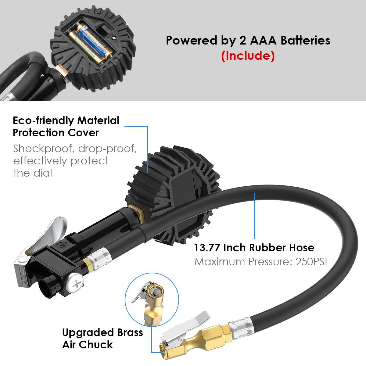 Medidor de Presion Neumaticos, HiGoing Manómetro Digital con 250psi Compresor Accesorios Manguera Resistente, Extensor de Válvula y Acoplador Rápido para ...