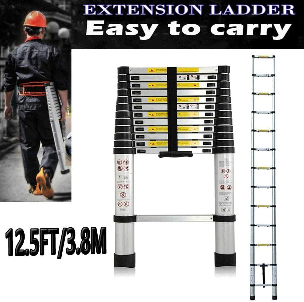 12.5ft 3.8M Telescoping Ladder Extension Multi-Purpose Portable Ladder with EN131 Certificate Max Load 150kg 330lb