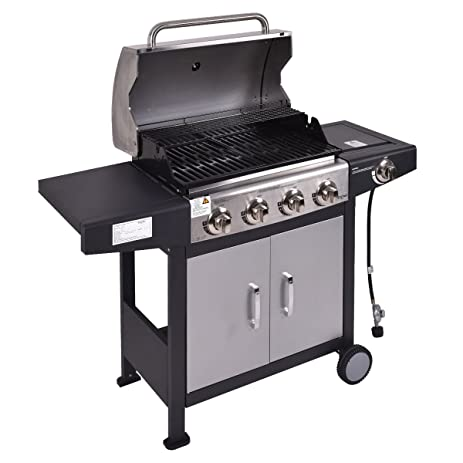Tangkula 4 Burner Gas Porpane Grill Stainless Steel Outdoor Patio Cooking  BBQ W/ Casters
