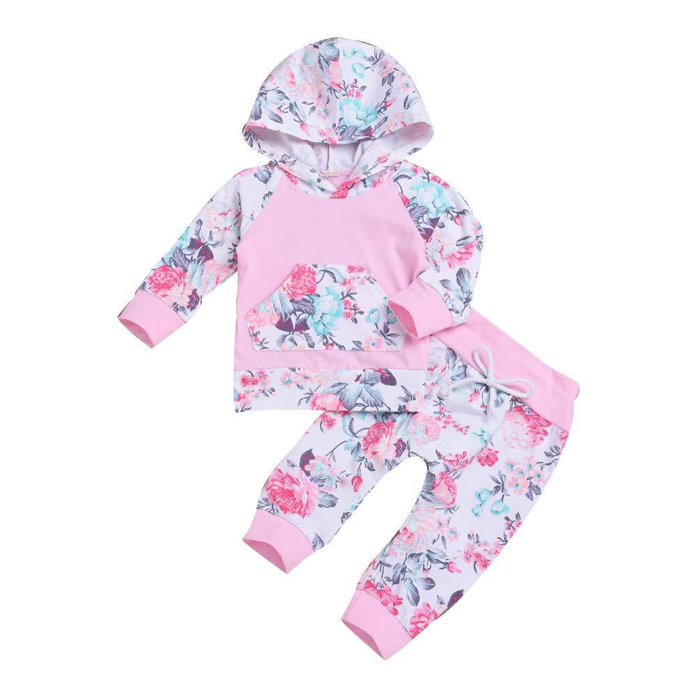 Robemon vêtement bébé Toddler Nouveau-né Bébé Garçon Fille Tops Floraux Capuche Pantalons Tenues 2 Pcs Ensemble De Vêtements Sweater Suit 6-24Mois