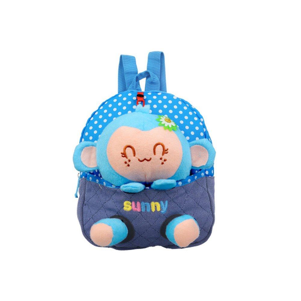Emotionlin Kindergarten 1-2-3 Year Old Baby Bags of Small Bags of Monkeys Cute Backpack Cartoon Bag (Blue)