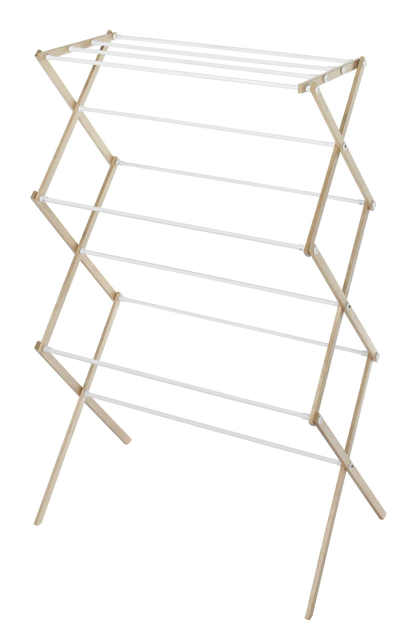 Whitmor Foldable Drying Racks - Wood - Foldable wood drying rack designed for lightweight use Created with 11 bars to offer generous amount of clothes drying space Collapsible design folds down in an accordion style allowing storage in compact spaces - laundry-room, entryway-laundry-room, drying-racks - 61%2BV%2BDsYh9L -