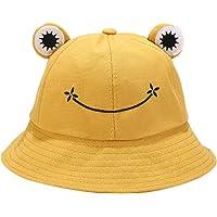 OKwife Kids Cartoon Frog Bucket Hat Wide Brim Sun Protection Adjustable Fisherman Cap