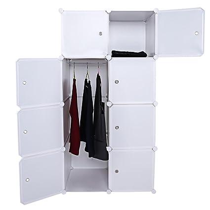 Folding Clothes Closet Wardrobe, Portable Practical Combination Cube Rack  Closets Shelf 2 Column 4 Layer