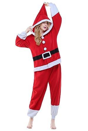 fe63328eca CANASOUR Polar Fleece Adult Santa Claus Chrismas Party Unisex Women s Onesie  Pajama ...