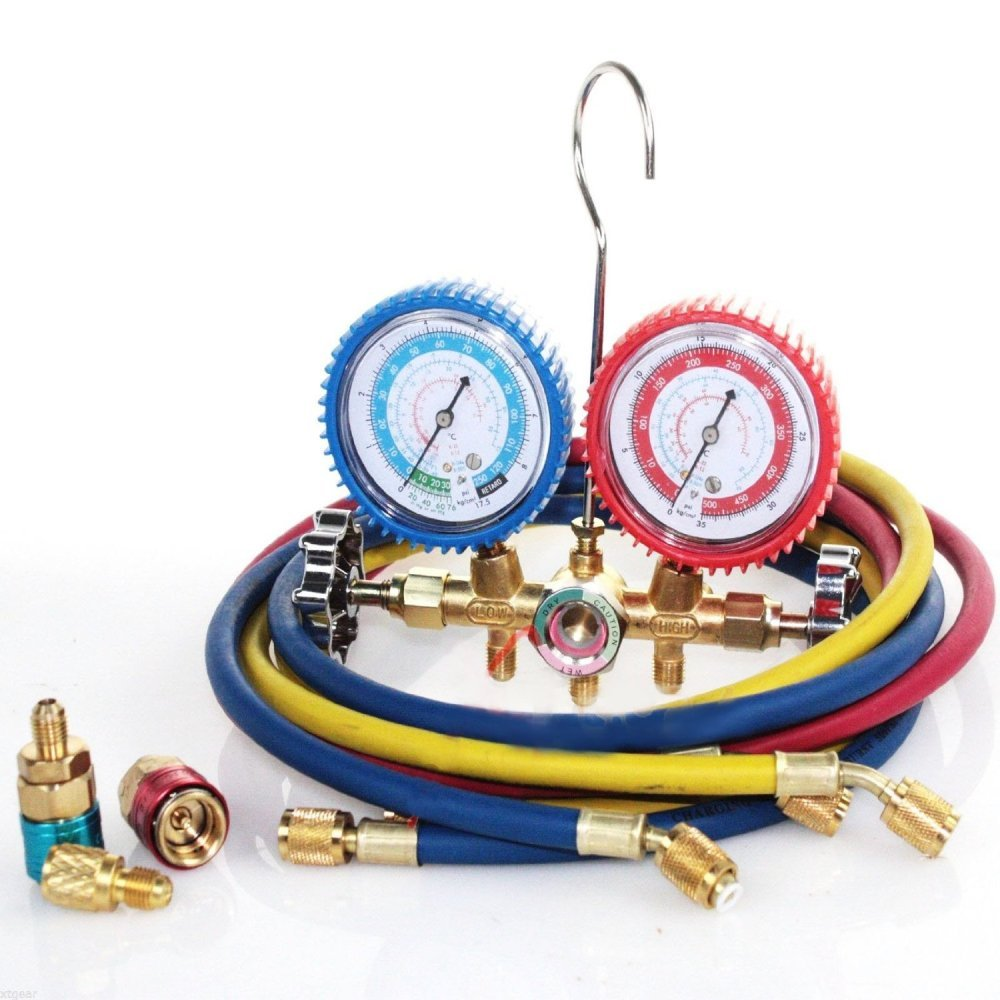 R134a R12 R22 AC A/C Manifold Gauge Set 5FT Colored Hose Air Conditioner Freon