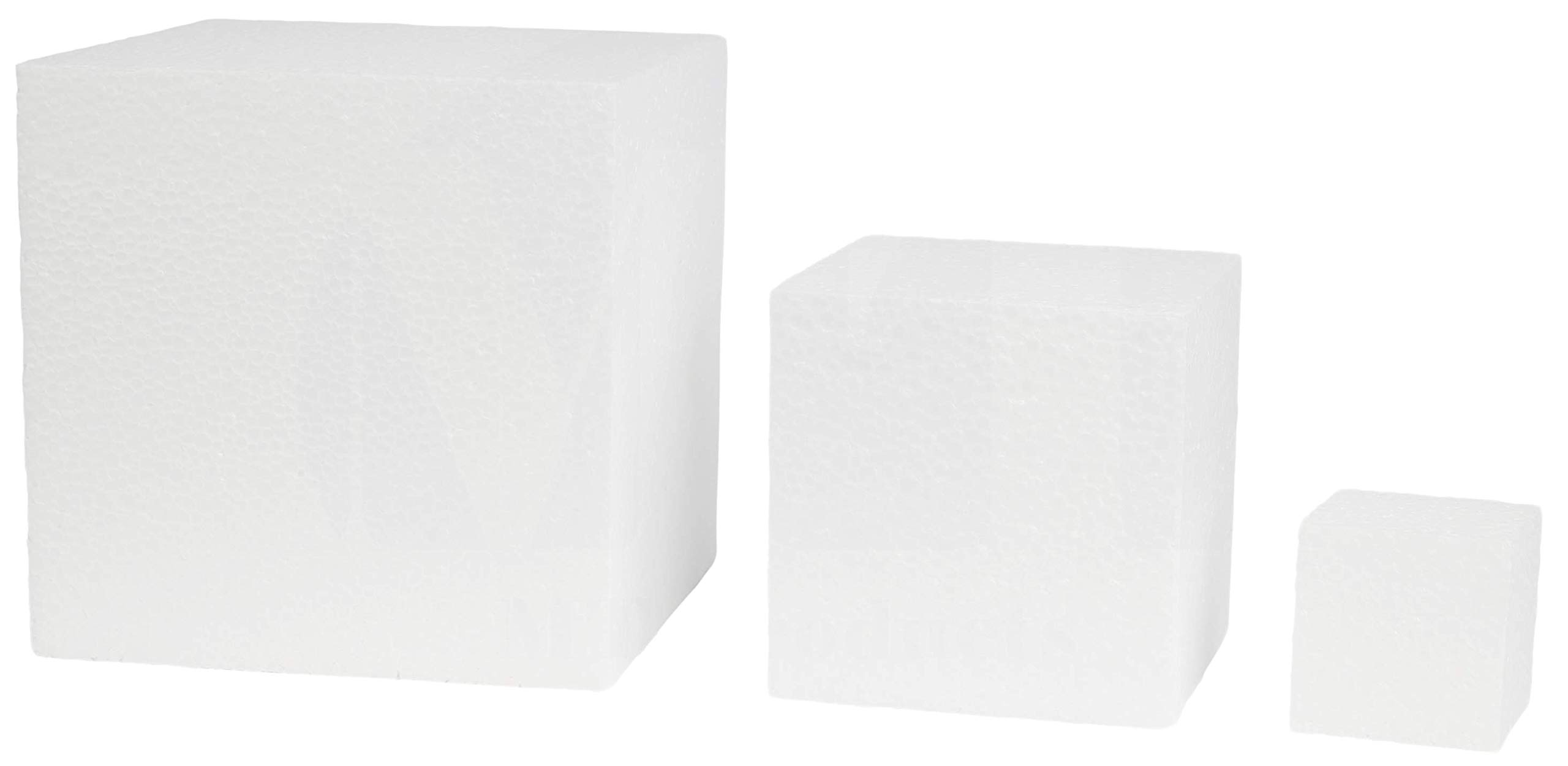 White Square EPS (Not-Squishy) Hard Foam Block Cubes by MT Products (4'' X 4'' X 4'') (6 Pieces)