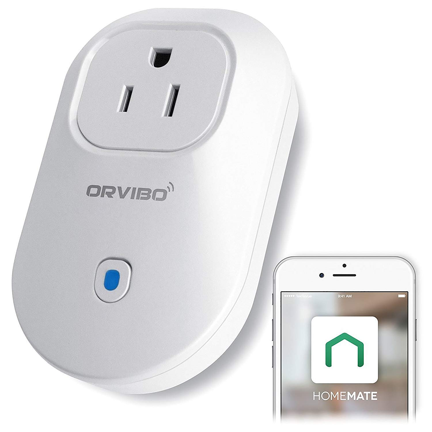 Orvibo S25 Wi-Fi Smart Socket Outlet US Plug, Compatible with Alexa Echo, Google Home, HomeMate-APP, Remote Control Home Device, White