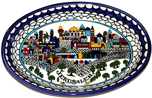 Armenian Hand Painted with Jerusalem City Walls and Gates View Serving Oval Ceramic Bowl - Extra Large (15.5 Inch Long by 10.5 Inches Wide by 1.5 Inches deep) - Asfour Outlet Trademark