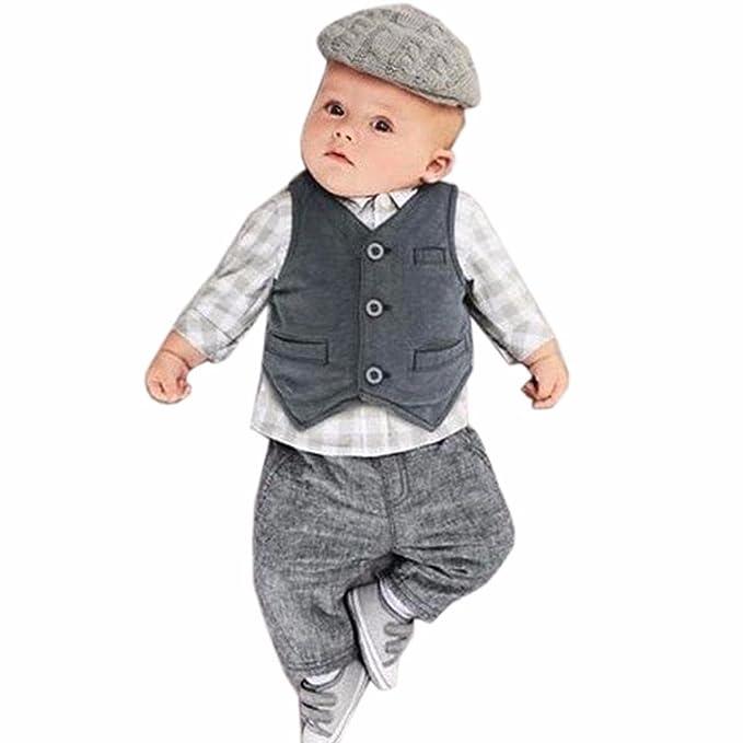Malloom® Bebé recién nacido Niño cool ropa 3pcs Traje: Gris ...