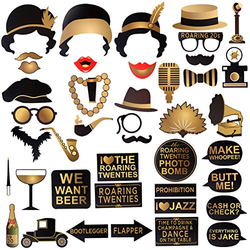 Roaring 1920's Party Photo Booth Props, BizoeRade 42pcs Roaring 20s Photo Booth Props, 1920s Party Supplies for Gatsby Party, Speakeasy Party, Gangster Party, Vintage Jazz Party -
