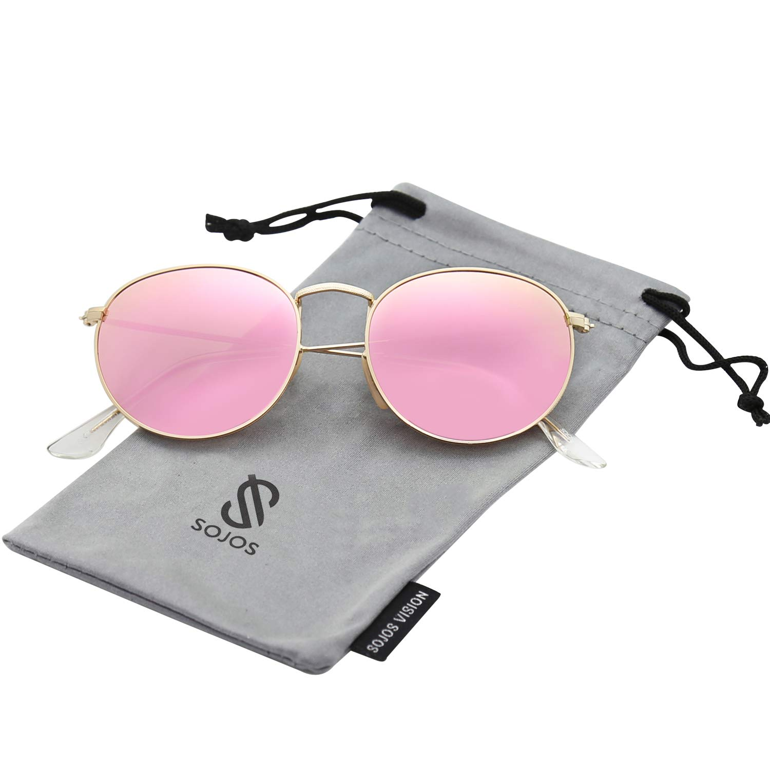 SOJOS Small Round Polarized Sunglasses Mirrored Lens Unisex Glasses SJ1014 3447 with Gold Frame/Pink Mirrored Polarized Lens by SOJOS