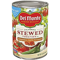 Del Monte, Mexican Recipe Stewed Tomatoes (with Jalapenos, Garlic & Cilantro), 14.5oz Can (Pack of 6)