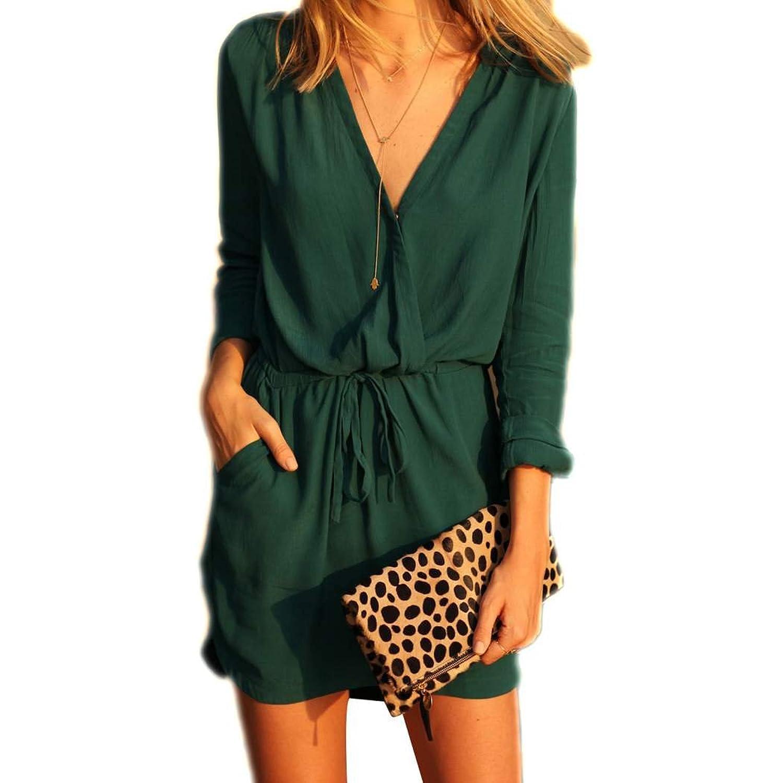 Zeagoo Damen Chiffon Blusenkleid Minikleid Sommerkleid Strandkleid V Ausschnitt Dunkelgrün
