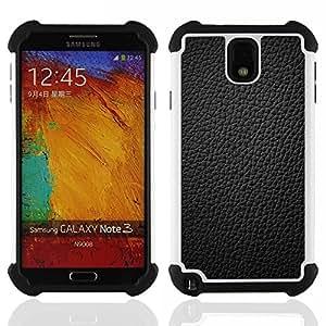 For Samsung Galaxy Note3 N9000 N9008V N9009 - Black Leather Grain Full Pattern Grey /[Hybrid 3 en 1 Impacto resistente a prueba de golpes de protecci????n] de silicona y pl????stico Def/ - Super Marley S