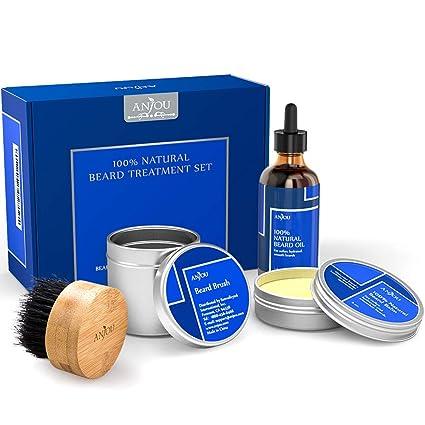 Anjou - Set de tratamiento de barba para hombre, 1 aceite, 1 bálsamo y