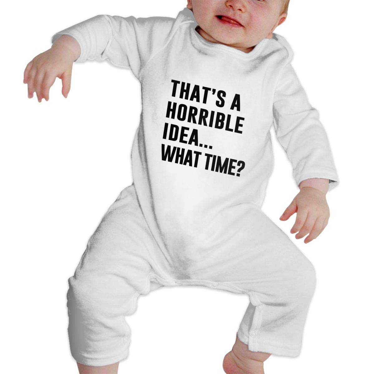 Thats A Terrible Idea What Time Romper Jumpsuit Long Sleeve Bodysuit Overalls Outfits Clothes for Newborn Baby Boy Girl