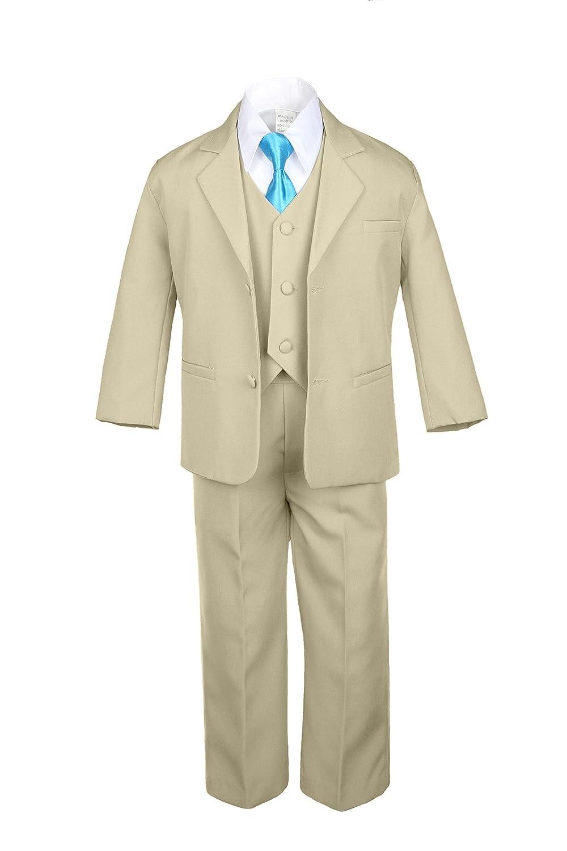 6pc Boy Khaki Vest Set Formal Tuxedo Suits with Satin Turquoise Necktie Baby to Teen