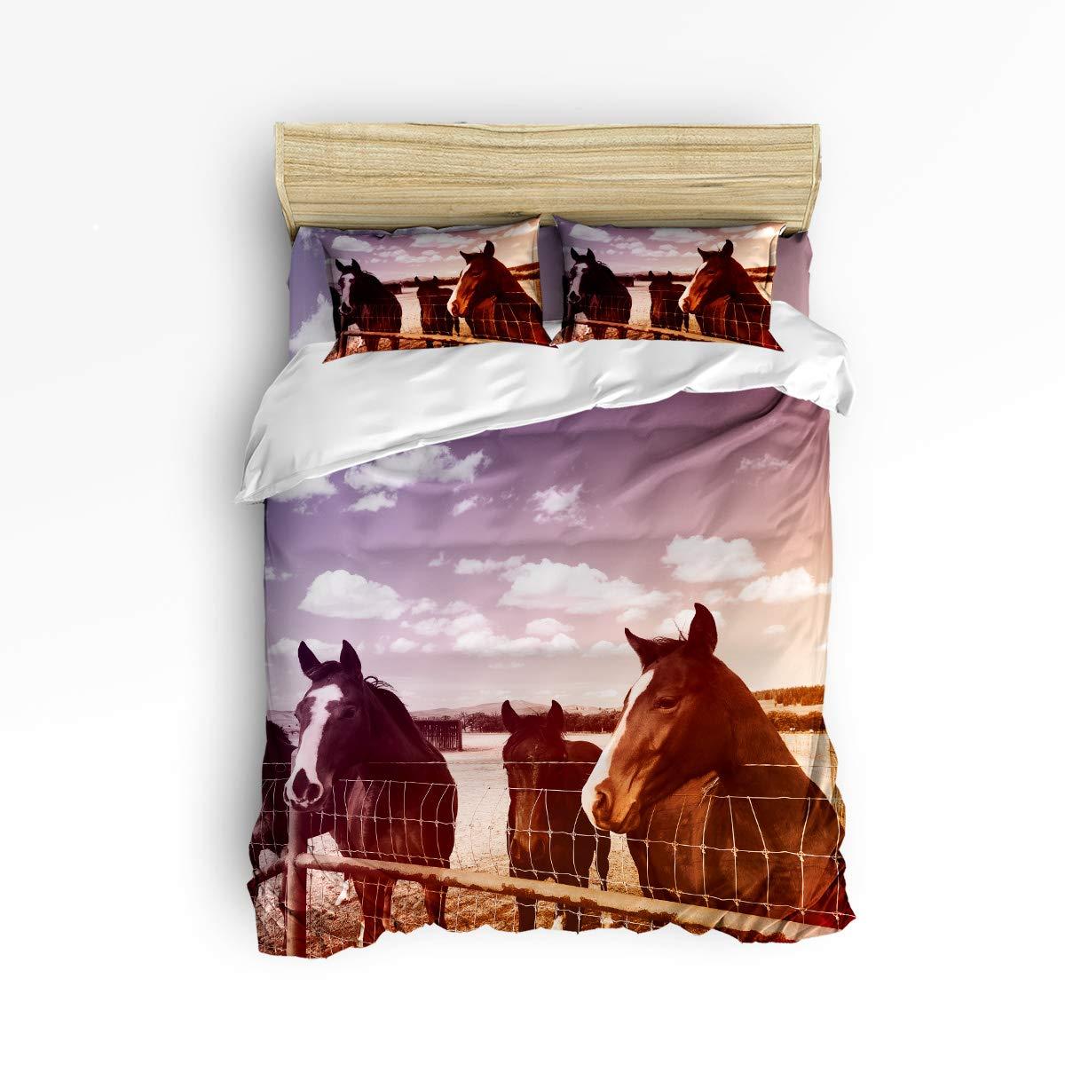 クイーンエリア寝具4点セット スーパーソフト 暖かい 高級 昼寝用ダウン生地 掛け布団カバーセット ブラックホワイト チューリップフラワー クイーン gml181121-queen-001SCRY00078SJTCQAA B07KR3YPKS Horse-002qaa8182 クイーン