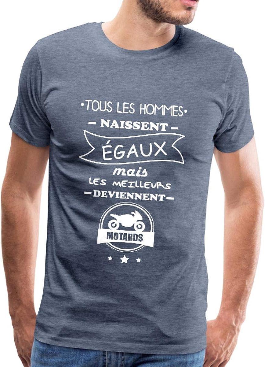 uraeus T-Shirt Tous Les Hommes Naissent /Égaux mais Les Deviennent Motard
