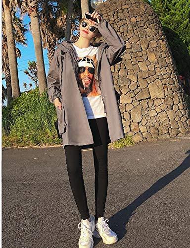 Long 2018 À Hiver Femme Col De Cardigan vent Manteau Lâche Et Automne Capuche Style Gris Blansdi Nouveau Veste Coupe Costume Taille Confortable Épaissir grande w4qpw