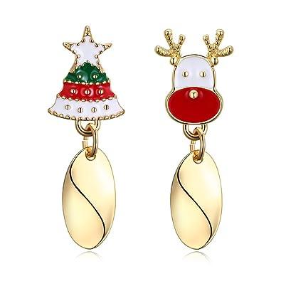 31caac8ea 18K Gold Plated Christmas Tree Deer Rhinestone Stud Earrings For Girls  Womens (dangle style)