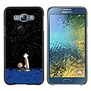 Imponente historieta Tigre lindo Calvi Hobb- Metal de aluminio y de plástico duro Caja del teléfono - Negro - Samsung Galaxy E7 / SM-E700