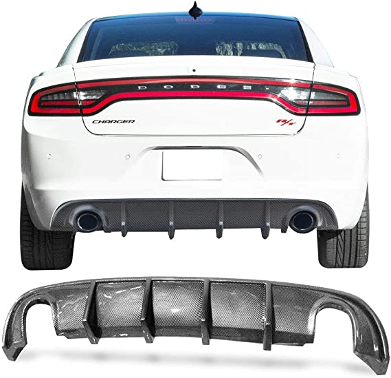 Rear Diffuser Compatible With 2015-2020 Dodge Challenger 4 Shark Fins Style Add On Rear Bumper Lip Spoiler Splitter Wing IKON MOTORSPORTS 2016 2017 2018 2019