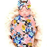 Newborn baby sleep receiving blanket and bow headband set baby swaddle blanket galabloomer,Pink
