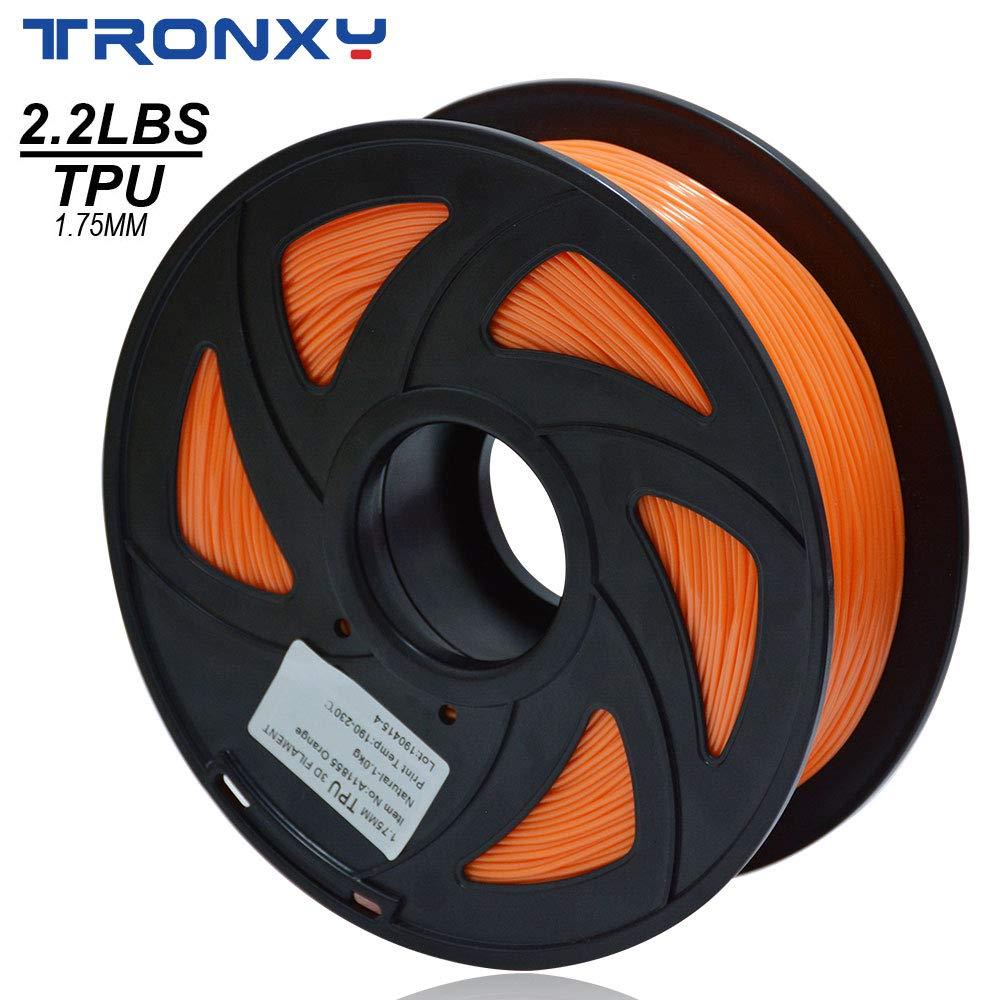 3D flexible naranja TPU filamento 1,75 mm, 1 kg (2,2 lbs) Material ...