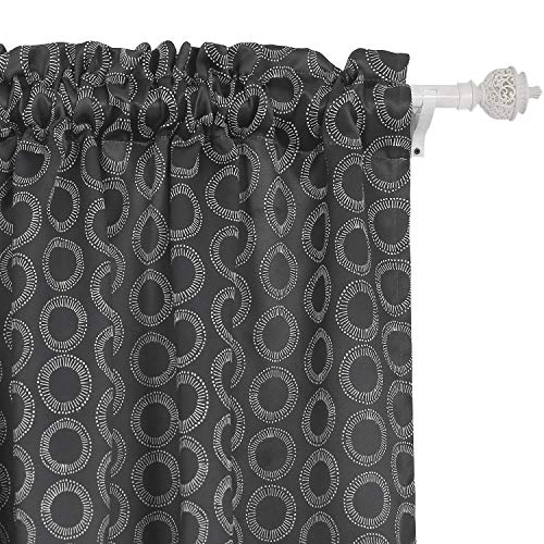 Deconovo Blackout Curtains Rod Pocket Blackout Window Curtains for Kids Room 42W x 63L Inch with Printed Circle Pattern Dark Grey 2 Drapes