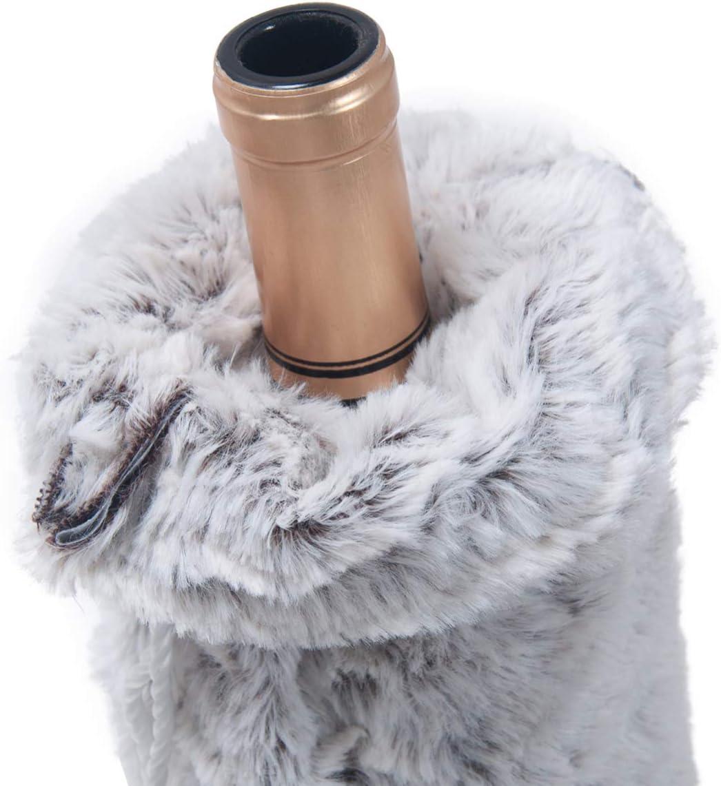Amosfun Housse pour Bouteille de vin en Fausse Fourrure pour d/écoration de No/ël Gris