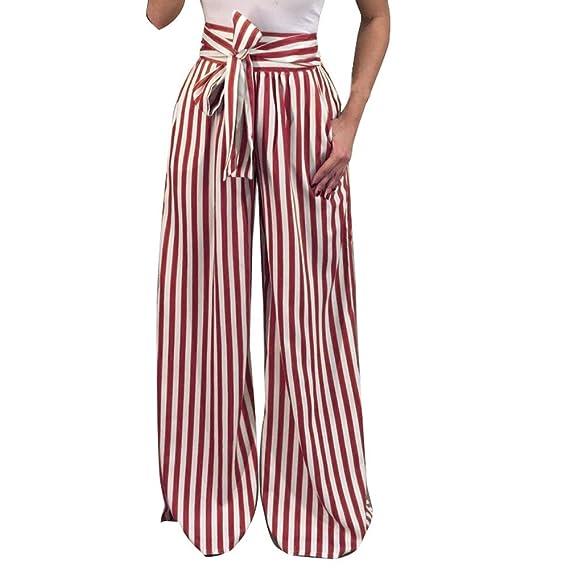 Luckycat Mujer Pantalones Largos Ajustados con Cinturón ...
