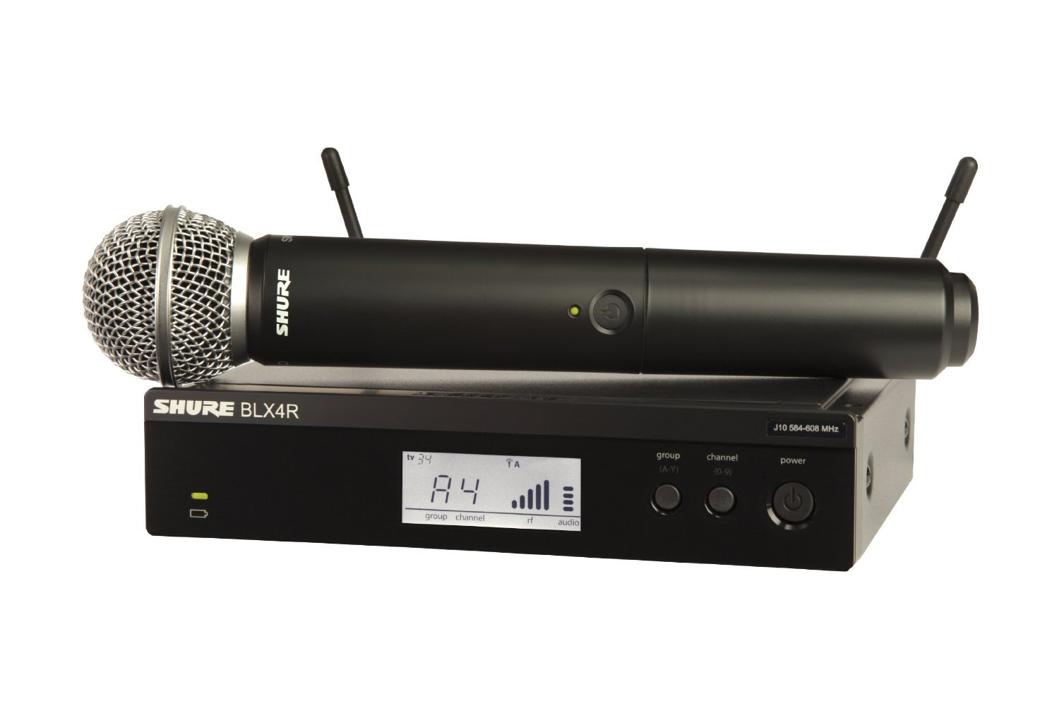 Shure BLX24R/SM58 Handheld Wireless System with SM58 Vocal Microphone, Rack Mount, H9