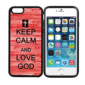 iPhone 6 (4.7 inch display) RCGrafix Keep Calm And Love God 4 - Designer BLACK Case - Fits Apple iPhone 6- Protected Cell Phone Cover PLUS Bonus Iphone Apps Business Productivity Review Guide